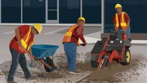 Siga las normas de seguridad para trabajar cerca de equipo pesado