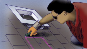 Corte las tejas para instalar ventilación en techos y áticos