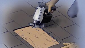 Corte un orificio en el techo para instalar ventilación