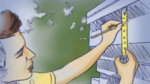 Realice una marca ½ pulgada hacia abajo del borde del techo