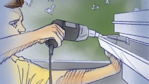 Perfore los orificios guías a 6 pulgadas de cada extremo
