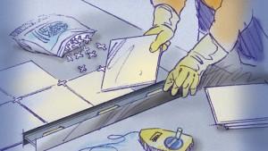 Colocar pisos de cerámica: colocar baldosas y espaciadores