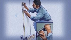 Instalar gabinetes de cocina: marque una línea recta