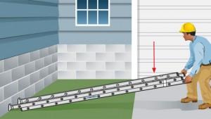 coloque la escalera completamente retraída en el suelo plano