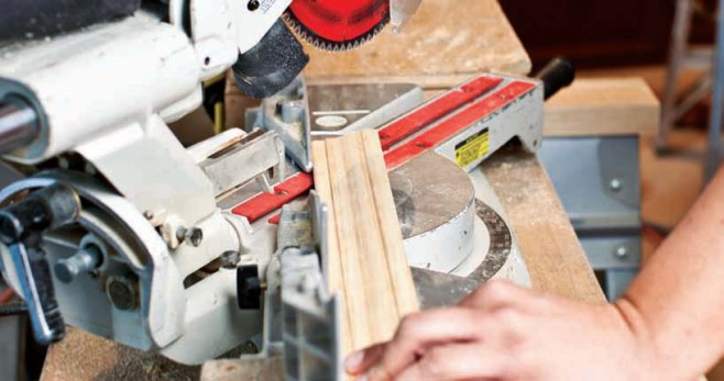 To miter corners, cut a 45-degree angle using a miter saw.