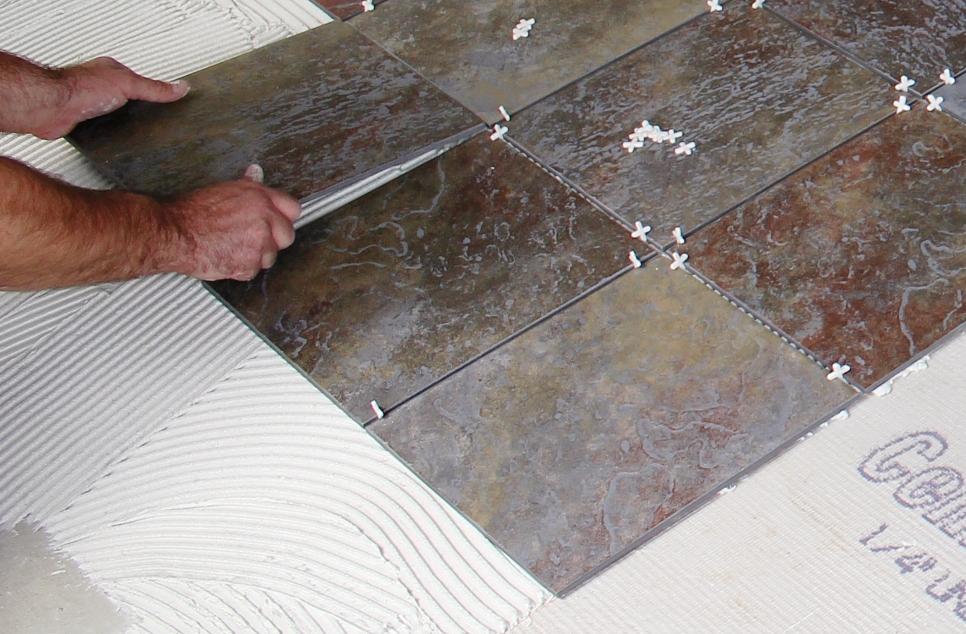 Juntas Baldosas Baño:Install Porcelain Tile
