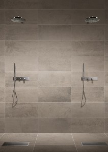 Use glazed porcelain tiles to tile the walls in showers and around bathtubs.