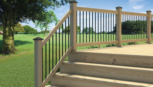 Barandas lightning rail para terrazas de madera constru for Barandas para terrazas