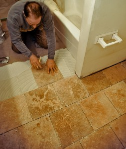 Porcelain tiles are typically installed using standard gray thinset