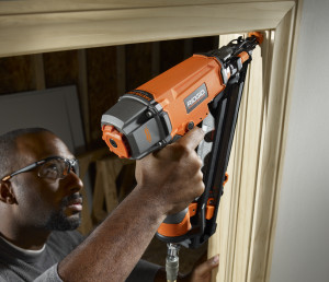 RIDGID'S Angled Finish will drive 2½-inch finish nails into solid oak